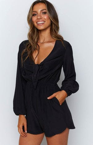 Araluna Long Sleeve Playsuit Black