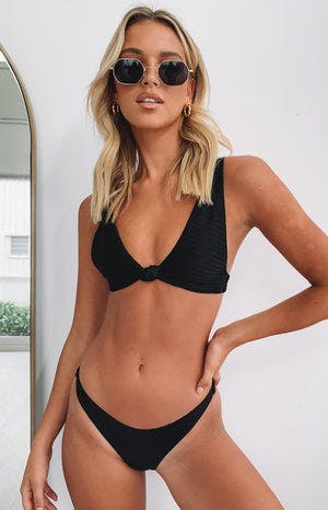 Beyond Her Jacquard Twisted Triangle Bikini Top Black