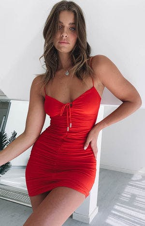 Break Even Ruched Party Dress Red