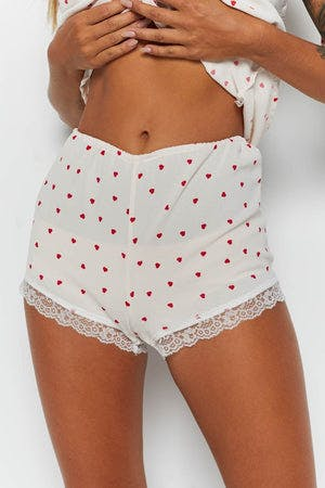 Celine Lace Shorts Red Heart