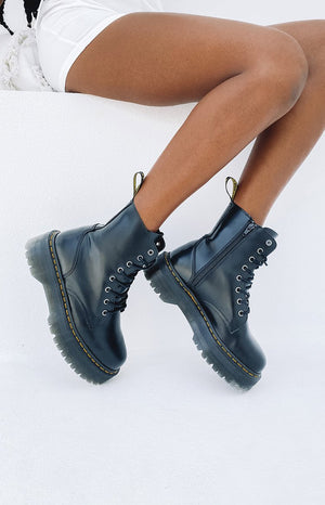 Dr. Martens Jadon 8 Eye Boot Black Polish Smooth