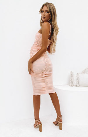 Dominica Shirred Midi Dress Peach