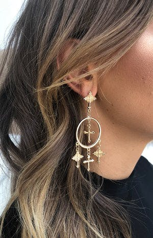 Eclat Enlightened Cross Earrings Gold