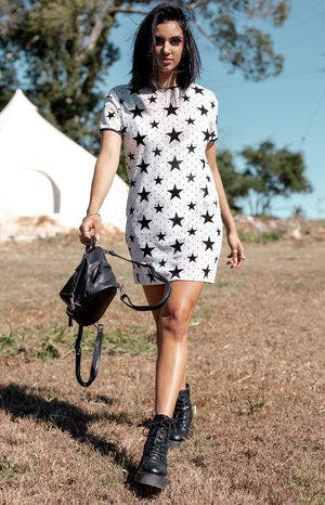 Field Day Mesh Dress White Velvet Star