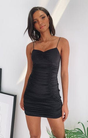 Get Even Ruched Party Dress Black