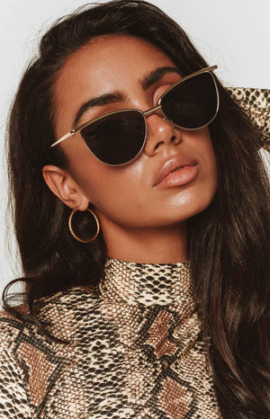 Eclat Ora Cat Eye Sunglasses Grey Gold