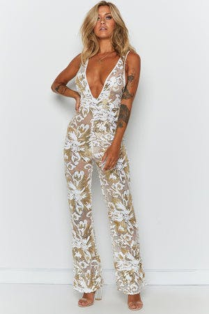 Harmon Sequin Jumpsuit Gold Sequin
