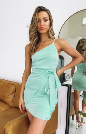 Heavenly One Shoulder Dress Mint