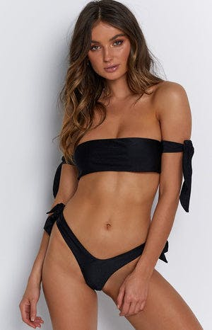 9.0 Swim Kitten Tie Bikini Top Metallic Black