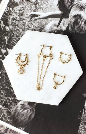 La Lune Bewitched 4 Piece Earring Set Gold