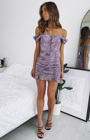 Lioness Feng Shui Mini Dress Purple Animal Print