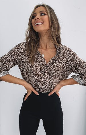 Madame Button Up Shirt Leopard