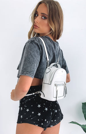 Peta & Jain Zoe Mini Back Pack White Croc