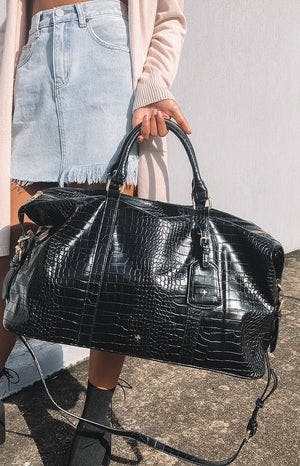 Peta & Jain Reagan Bag Black Croc