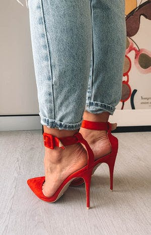 Billini Riley Heels Red Suede
