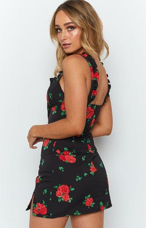 Shelly Frilled Summer Mini Dress Black Red Rose