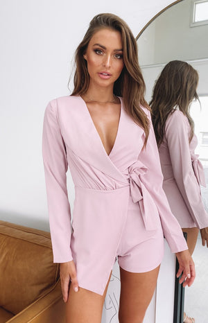 So Into You Party Playsuit Dusty Pink