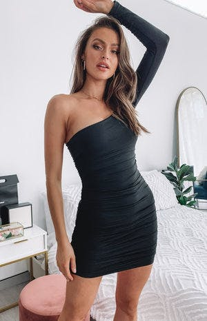 Taytum One Shoulder Party Dress Black