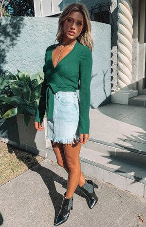Twisted Heart Wrap Knit Top Emerald