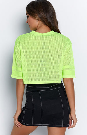 BB Crop Fluro Yellow Mesh