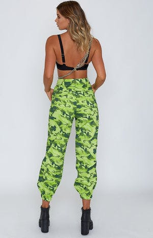 Antares Cargo Pants Lime Green Camo