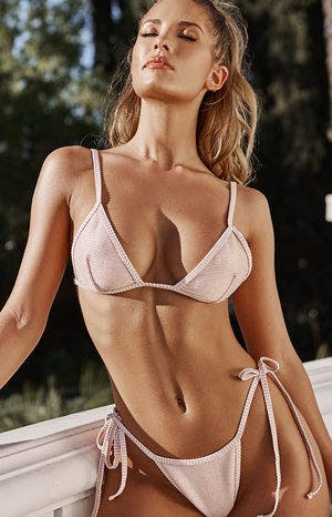 9.0 Swim Ibiza Bikini Top Pink & Gold Stripe