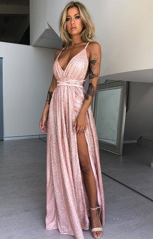 Jasmine Glitter Formal Dress Rose Gold Sparkle