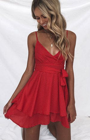 August Dress Red Polka